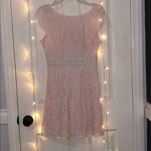 Pink with embodied white lace dress B. Darlin